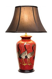 Oriental Style Lamp In Metallic Red Lacquer Finish,