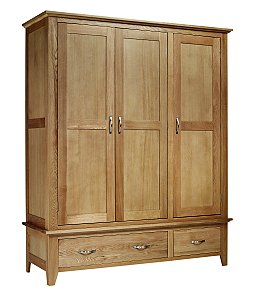Solid Oak Triple Wardrobe With Two Drawers