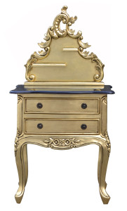 Louis Xv Gold Leaf Bedside - With marble top