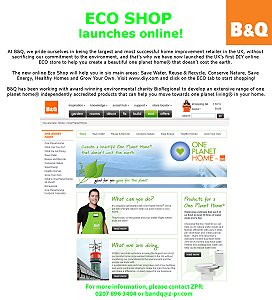 B&Q Launches Eco Shops In Store And Online